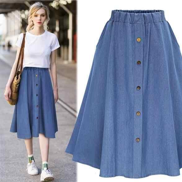 2019 Preppy styl Denim kobiet jednolity kolor długi faldas natura talii kobieta Big Hem przycisk spódnica Jean DV764