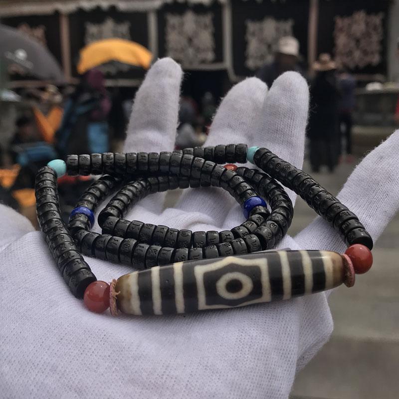 Special Beads Tibetan Dzi Bead Three eyes Amulet Necklace for Men & Women Protection Bring Good Luck Great Gifts Free Shipping energy tibetan 6 dragon eye totem symbol long dzi bead amulet pendant 14mm 49mm free shipping