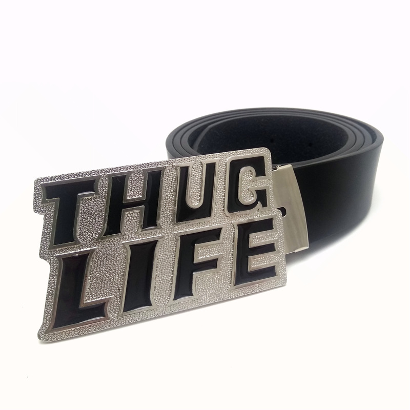 Male belt mens clothing accessories Black PU leather bet men with letter thug life cowboy belt buckle metal cinturon hombre