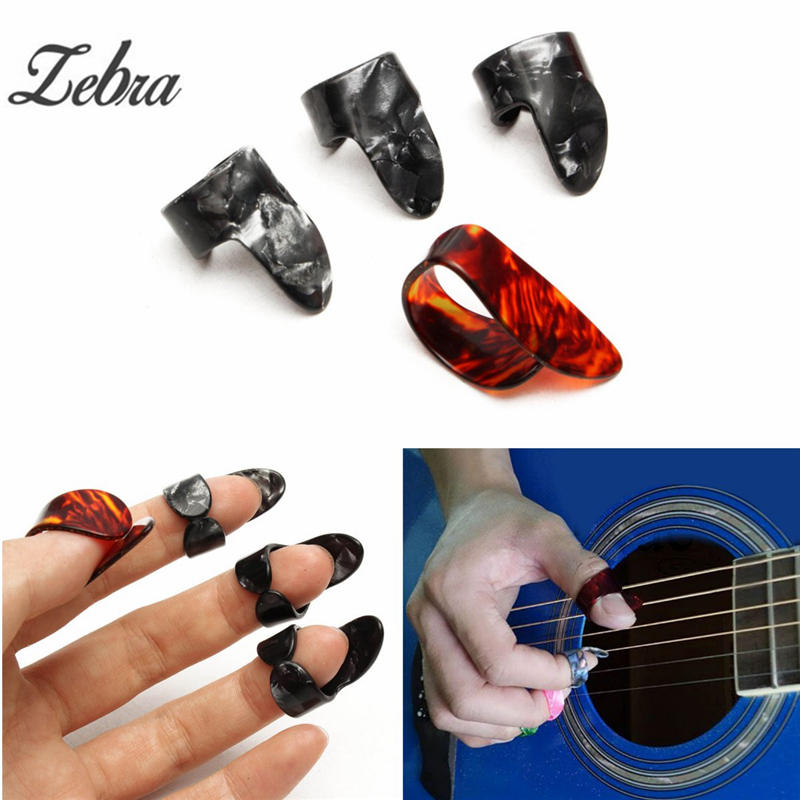 Zebra 4pcs/set Celluloid 1 Thumb + 3 Finger Bass Guitar Picks Guitar Plectrums For Acoustic Electric Ukulele Parts Accessories 100pcs acoustic electric guitar picks parts acoustic celluloid plectrum multi 0 46 0 71mm classical guitar pick
