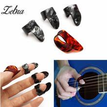 Zebra 4pcs/set Celluloid 1 Thumb + 3 Finger Bass Guitar Picks Guitar Plectrums For Acoustic Electric Ukulele Parts Accessories