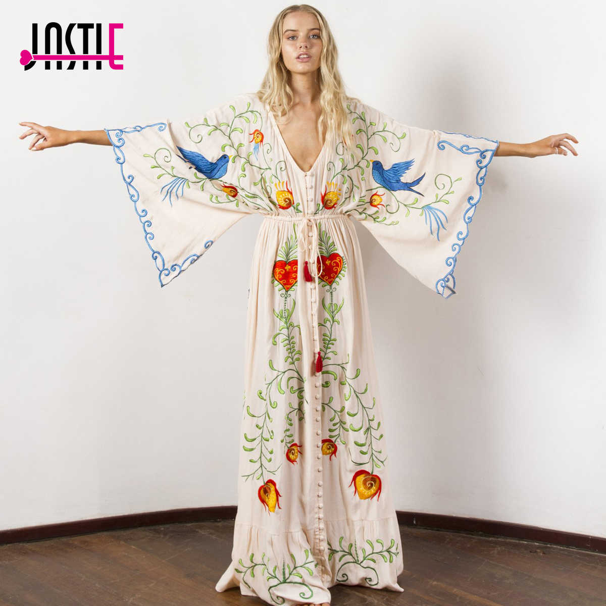 c4b7d5821cc85 Jastie Embroidered Women Maxi Dress V-Neck Batwing Sleeve Loose Plus Size  Summer Dresses Drawstring