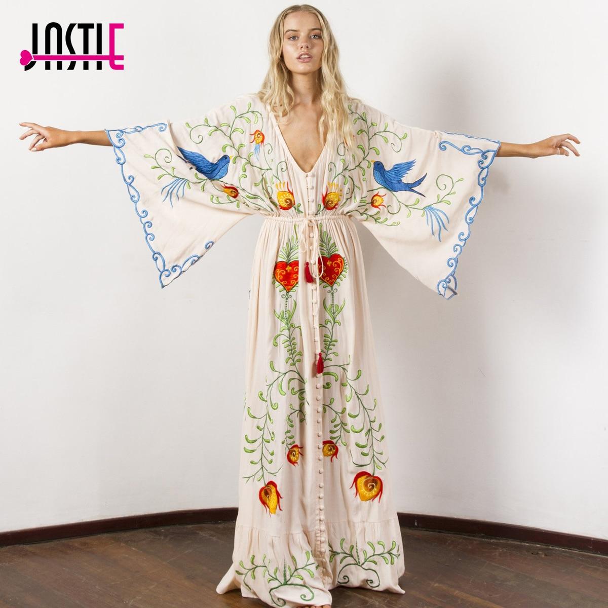 Jastie вышитые Для женщин макси платье v-образным вырезом и широкими рукавами свободные плюс Размеры летние платья кулиска на талии Boho пляж ...