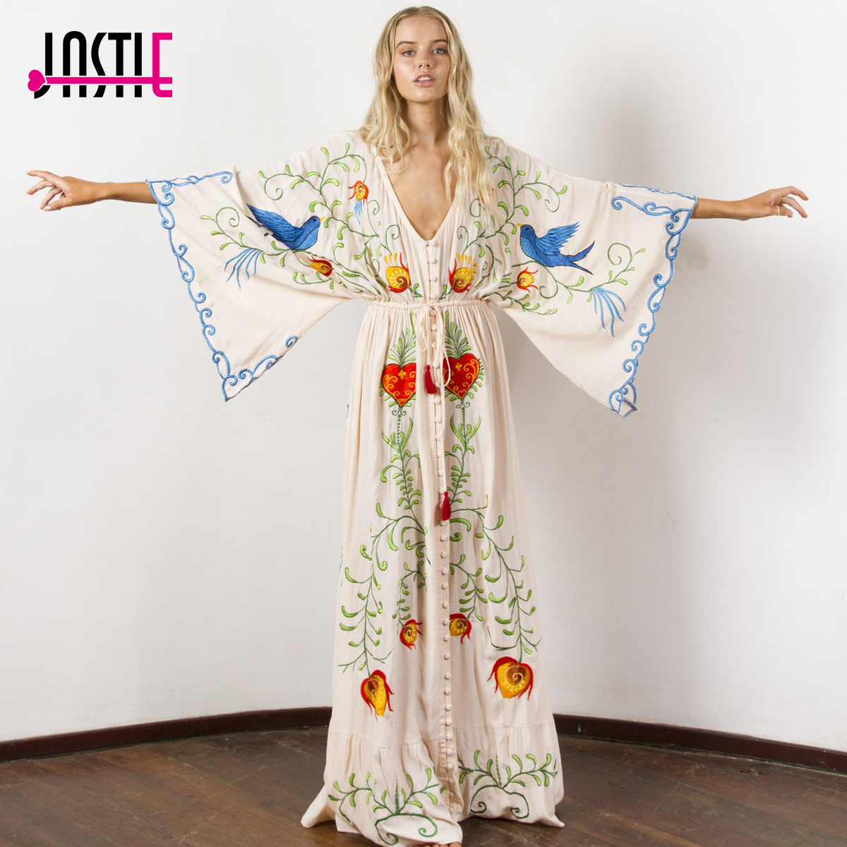 Jastie вышитые женские платье макси v-образный вырез летучая мышь рукав свободный плюс размер летние платья с кулиской на талии Boho Beach Vestidos