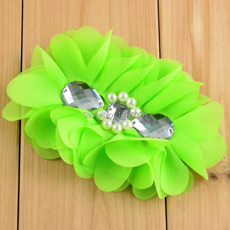 60 шт./лот, потрепанная шифоновая цветы с жемчугом, обруч для волос со стразами из шифона с цветочным принтом