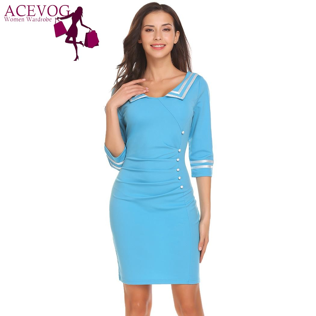 ACEVOG Women Party Dress Vintage Navy Marine Style Striped Ruched ...