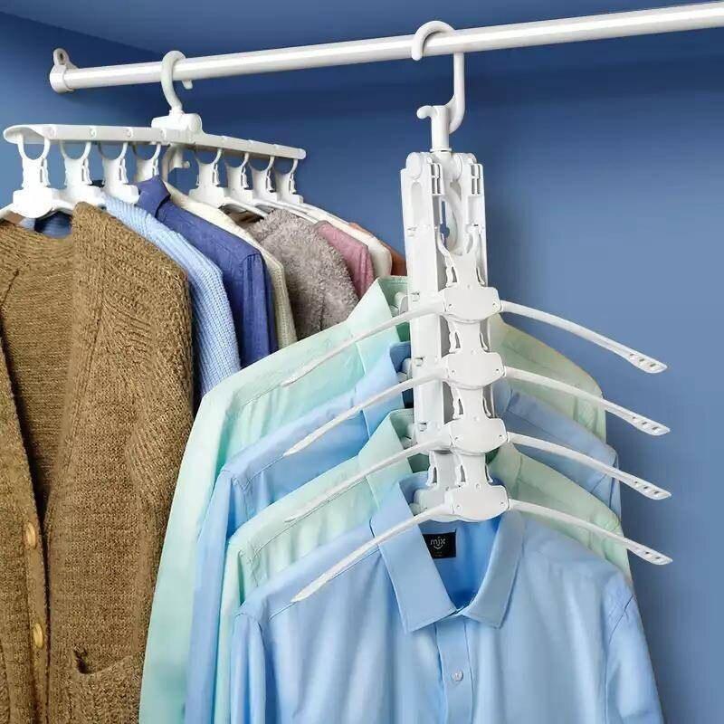 Ev ve Bahçe'ten Askılar ve Raflar'de Yüksek kalite 8 In 1 çok katmanlı katlanır elbise askısı çok fonksiyonlu 360 Anti kayma döner askı braketi dolap depolama title=
