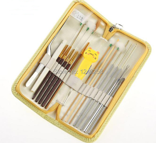 16pcs Ear Pick Wax Remover Ear Cleaner Handmade EarPick Kit Health Care Tools with leather Case