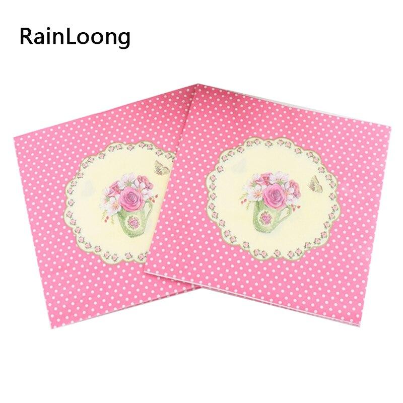[Rainloong] flor rosa de papel servilletas 2 capas festivo y fiesta de tejidos g