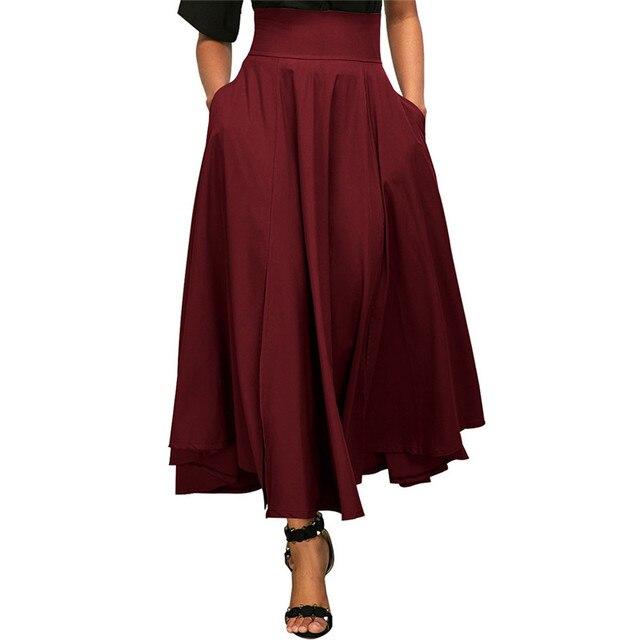 fe59bb5065 Vintage Women High Waist Plain Skater Summer Skirt Lace-up Flared Pleated  Long Maxi Skirt AsymmetricParty Women Skirt Plus Size