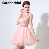 2017 Spring Summer Sweety Portrait Homecoming Dresses With Sleeveless Capped Lace Beaded Crystal Tulle Mini Length