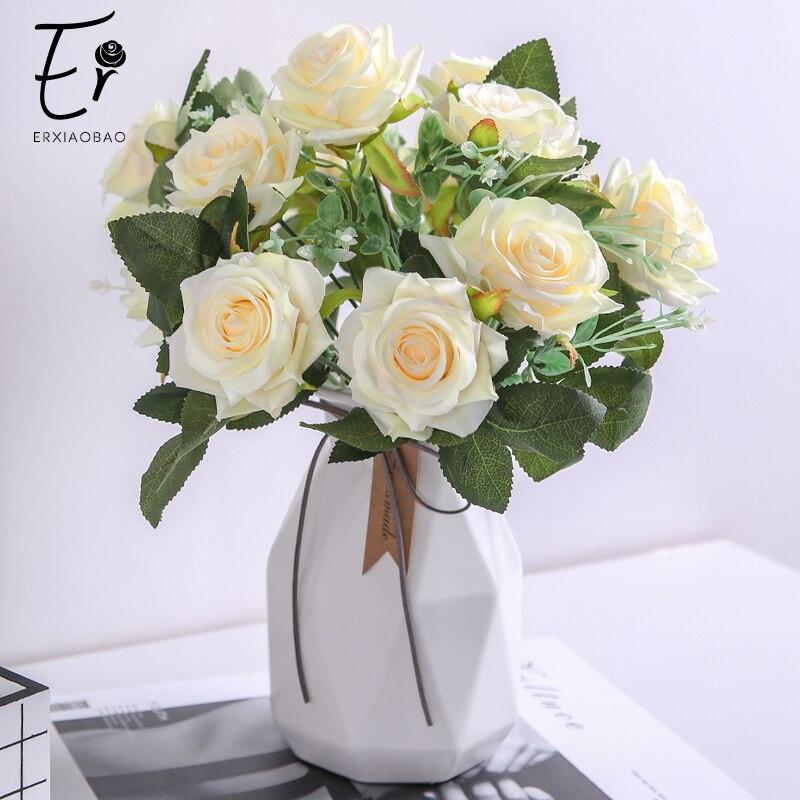 12 Heads Artificial Silk Flowers Bunch Rose Bouquet Wedding Home Party Decor New