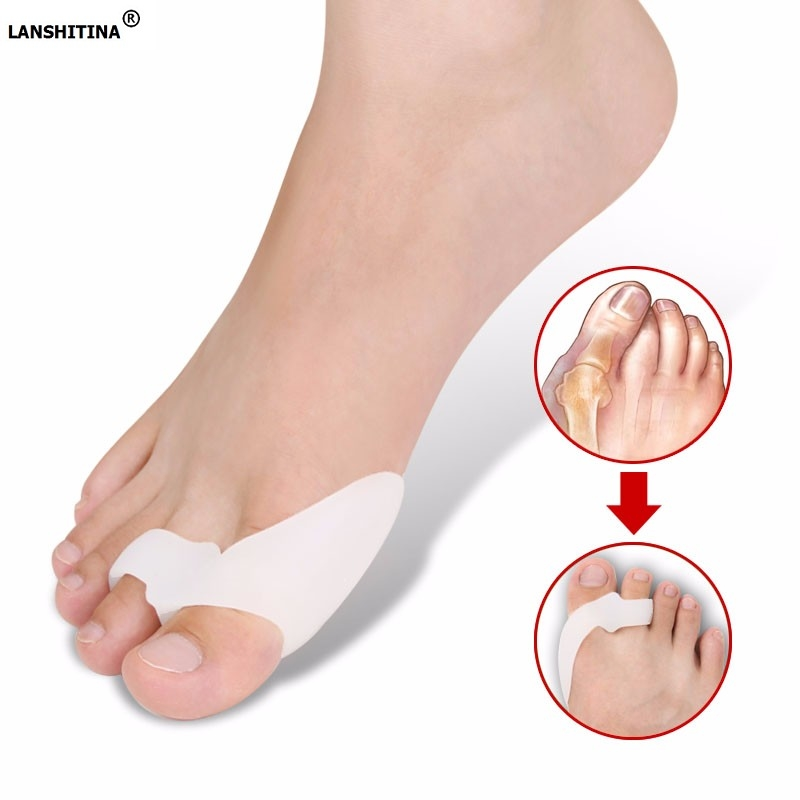 2019 Silicona Hallux Valgus Separador del dedo del pie Corrección Set The Night With Ortosis Accesorios para zapatos Transpirable Absorbente Plantilla