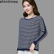 shintimes Cotton Striped T Shirt Women Long Sleeve Vintage T-Shirt 2019 Plus Size Tshirt Loose Womens Clothing Tee Femme