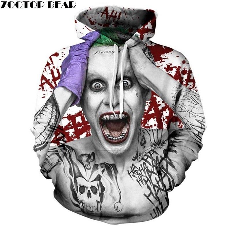 Suicide squad Joker 3D Felpe Felpe di Marca Degli Uomini di Tute Stampato Pullover Con Cappuccio Cappotto Divertente Felpa Con Cappuccio Più Il Formato ZOOTOP ORSO