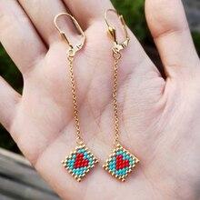 FAIRYWOO Sweet Love Heart Earrings Miyuki Boho Jewelry Red Wedding Long Drop Earring Women Accessories Pendientes Korean