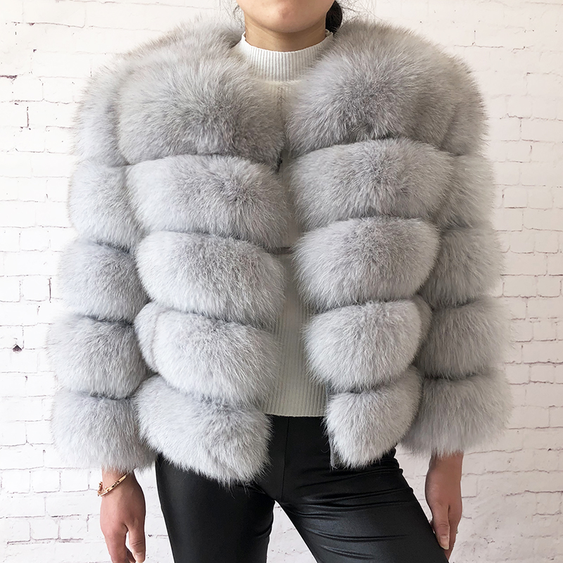 2019 new style real fur coat 100% natural fur jacket female winter warm leather fox fur coat high quality fur vest Free shipping 91