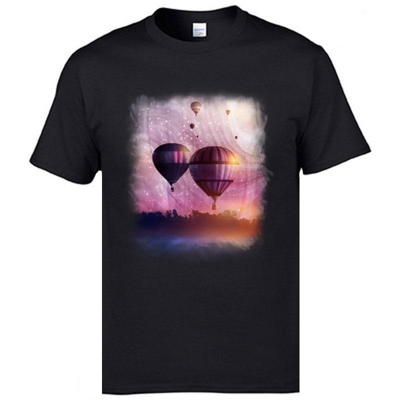 Electronica Music Men T Shirts So Far Close Fantasy Balloon Printed On T-Shirts Mens Retro Tshirts XXL Black Hipster Tees