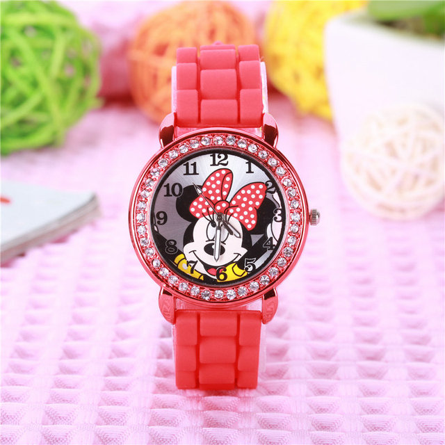 2018 New fashion minnie girls Ladies women crystal Watch kids children cartoon silicone sport watches 1pcs