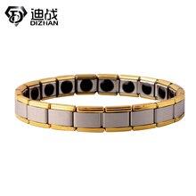 Men Stainless Steel Gold Chains Charm Energy Bracelets Tourmaline Bangle Bracelet For Women Health Jewelry