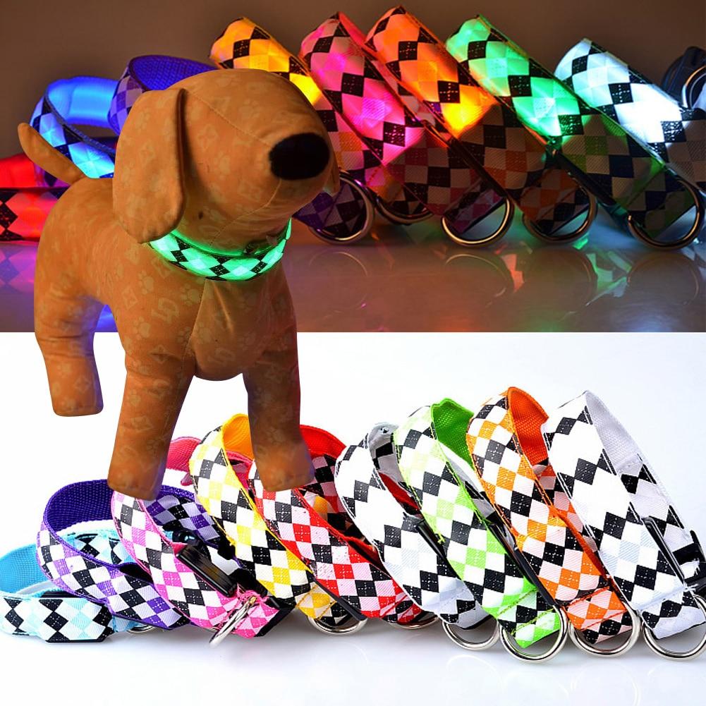 Nueva Llegada Intermitente Perro Mascota led Collar Brillo Colorido Cuello de Nylon de Seguridad Nocturna Collar Luminoso Cuello de viaje al aire libre BS
