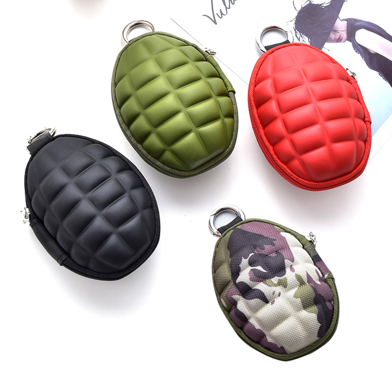 DoreenBeads Stainless Steel Round Keychain Colorful Mini Cute Creative Wallet Grenade Multi-function Key Bag Male,1Piece 2018