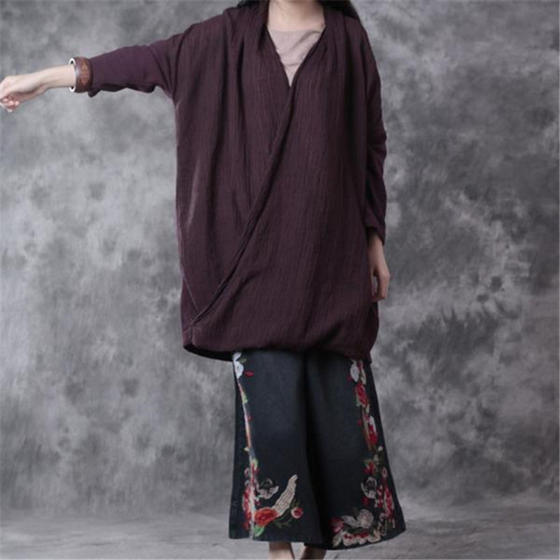 BUYKUD 2018 Cotton Loose Splicing Top Deep V neck Shirt Long Sleeve Special Design Purple Hedging Shirt In Plus Size