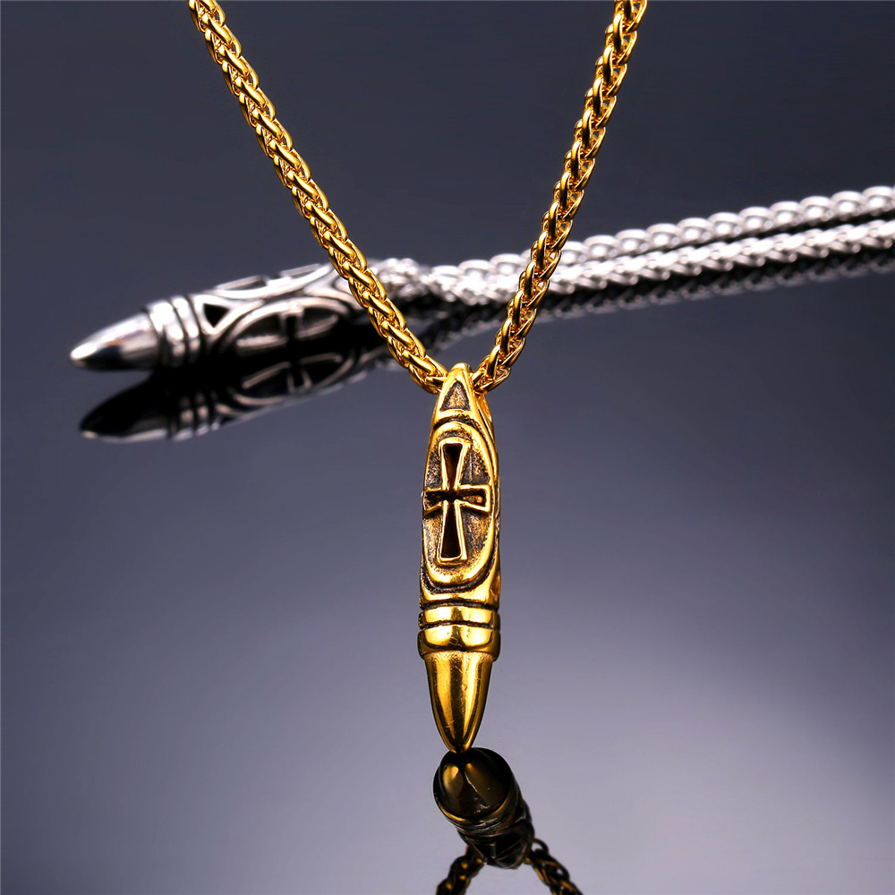 Unique design necklaces pendants for men cross bullet pendant unique design necklaces pendants for men cross bullet pendant with stainless steel chain p1906g in pendants from jewelry accessories on aliexpress aloadofball Images