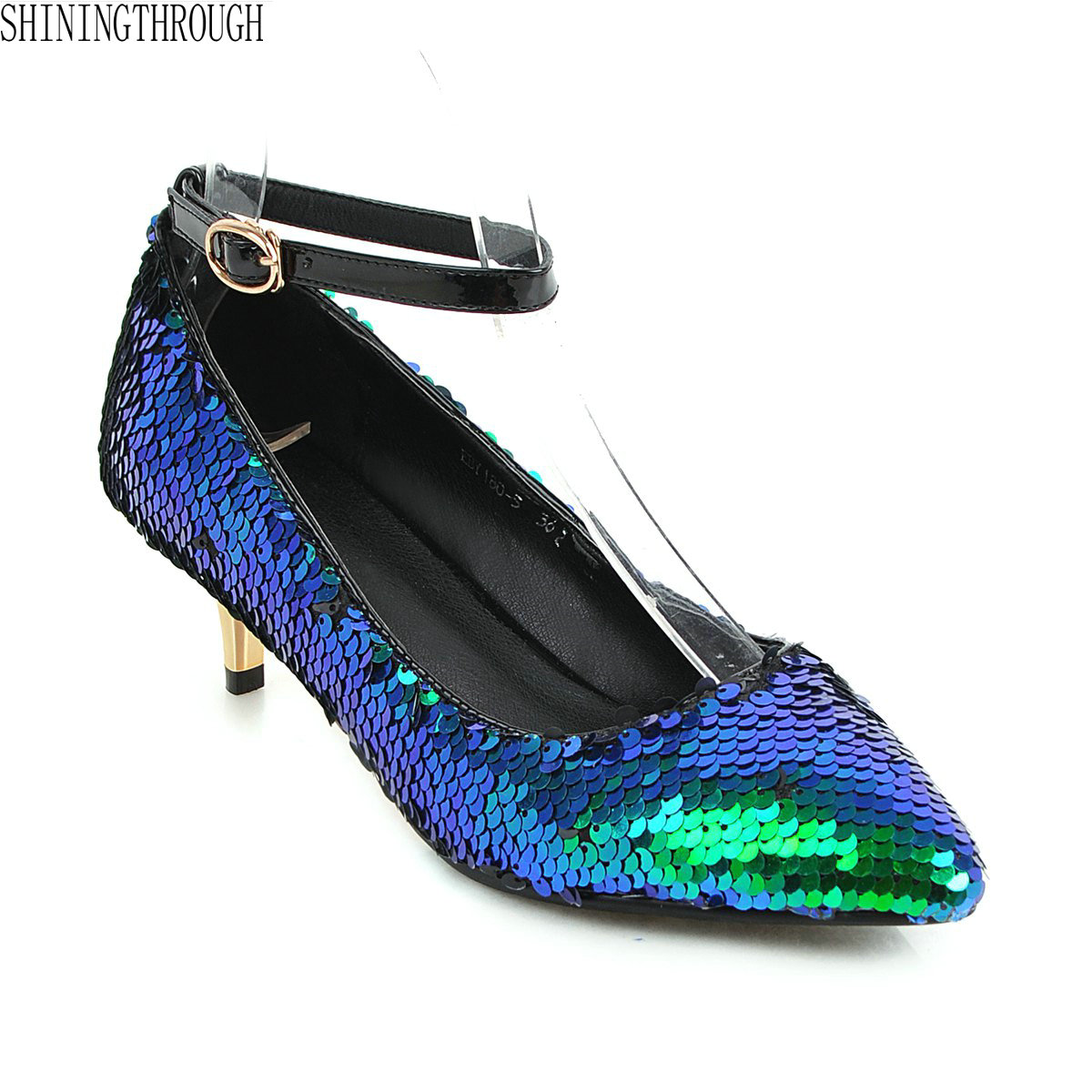 New bling women pumps 5cm thin high heels ankle strap shoes woman party dress ladies shoes