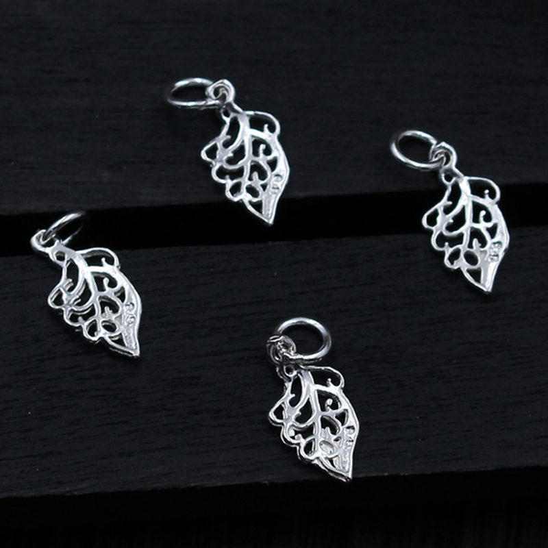 100% 925 Sterling Silver Craft Hollow Out Leaf Charms Women Beading Bracelet Pendants Accessories DIY S925 Fine Jewelry Findings