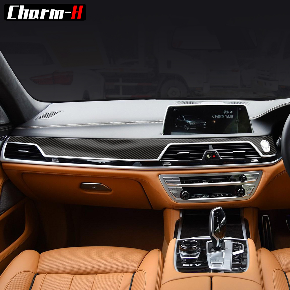 for BMW G11 G12 RHD 7 Series 2016 2018 5D Carbon Fibre Central Control Console Gear Shift Panel Interior Protective Film Sticker|Car Stickers| |  - title=