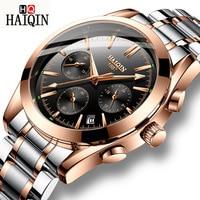 2019 새로운 Haiqin 럭셔리 브랜드 골드 시계 남자 쿼츠 시계 스테인레스 스틸 XFCS 남자 Wriswatch Relojes Hombre Relogio Masculino