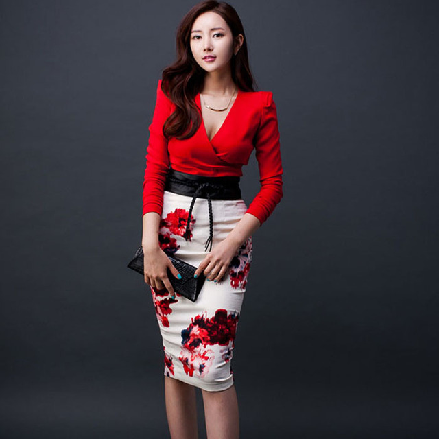 bb40d0b53b 2 piece set women s Skirts and tops 2019 Summer cotton blend Slim fit Red  suits set ladies Skinny high waist suit twinset Girls