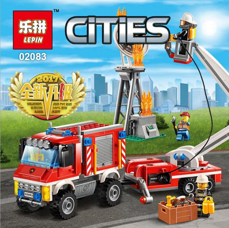 Lepin 02083 City Series Heavy Fire Engine Rescue Truck Building Blocks Bricks Toys For Children Gift LegoINGlys 60111 hot sembo block compatible lepin architecture city building blocks led light bricks apple flagship store toys for children gift