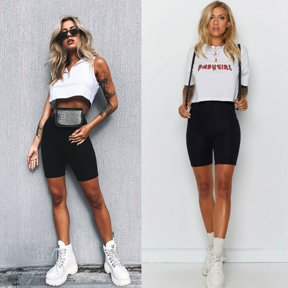 New Women Ladies Fashion Casual Comfy Cycling Solid High Waist Shorts Dancing Gym Biker Active Sports Shorts