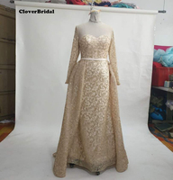 Middle Est New Fabric Hot King Net Glitter Gold Evening Dresses 2017 Long Sleeves Gorgeous Vestido