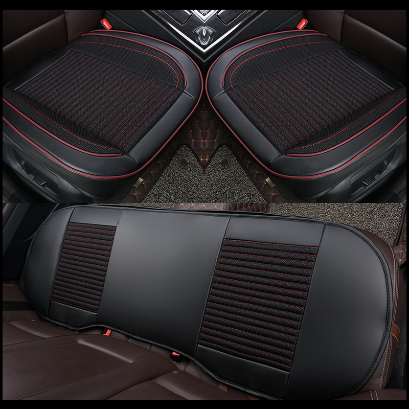 Car Seat Cover Universal PU Leather Flax Auto Front Rear Back Seat Cushion Pad Mat Four