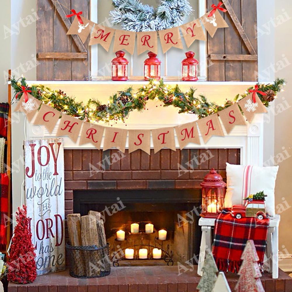 aytai merry christmas burlap banner letter bunting flags window outdoor home party decor garland string flag decorations in banners streamers confetti - Burlap Outdoor Christmas Decorations