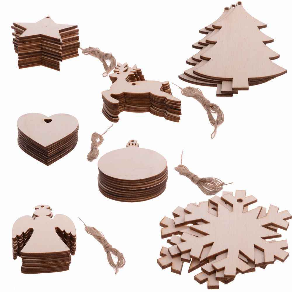 10PCS/ Lot Santa Claus nowflake Star Boots Bells Christmas Tree Hanging Wooden Ornaments Party Christmas Decorations For Home