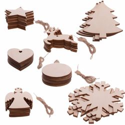 10PCS/ Lot Santa Claus nowflake Star Boots Bells Christmas Tree Hanging Wooden Ornaments Party Christmas Decorations For Home 1