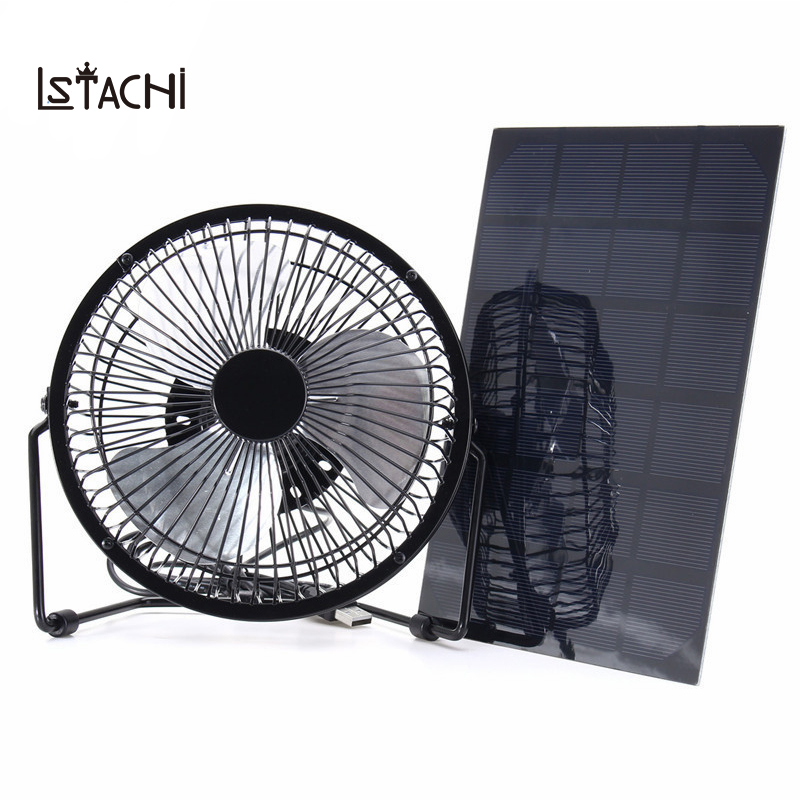 LSTACHi Black Solar Panel Powered +USB 5W Iron Fan 8Inch Cooling Ventilation Car Cooling Fan for Outdoor Traveling Fishing Home