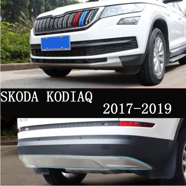 Stainless steel Car Front+Rear Bumpers Protector Guard Skid Plate 2Pcs/Set Fits For SKODA KODIAQ 2017 2018 2019 2020