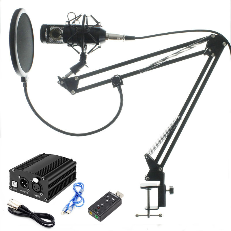 Profession bm 800 condenser microphone for computer karaoke mic <font><b>bm800</b></font> <font><b>Phantom</b></font> <font><b>power</b></font> pop filter Multi-function sound card image
