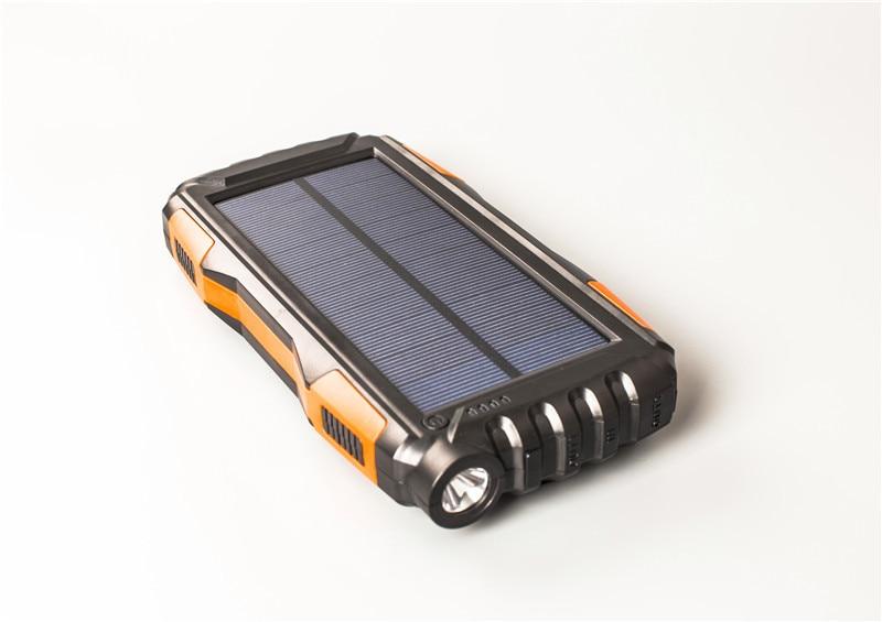 25000 mAh Extérieure batterie portable solaire Chargeur Solaire Étanche Externe USB Chargeur de batterie de secours solaire pour Smartphone avec lumière LED
