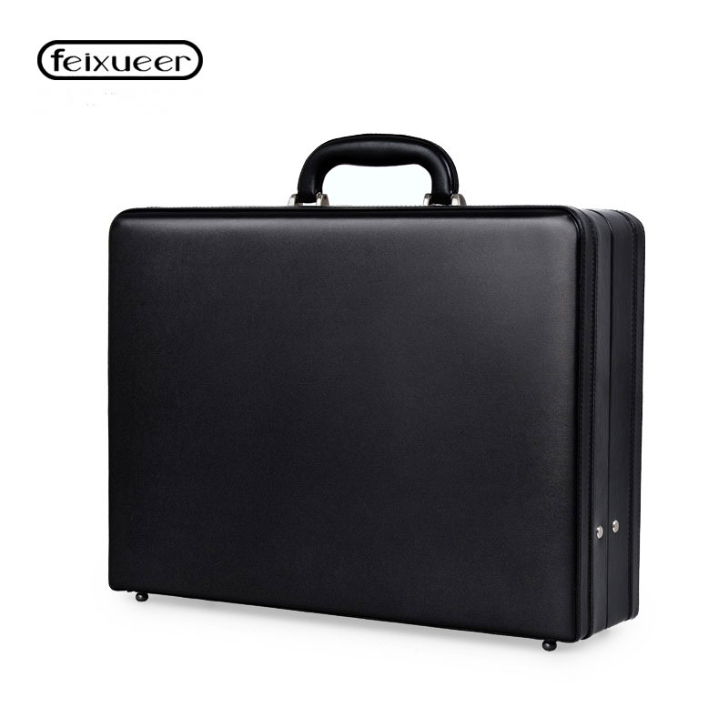 Feast of the Beast (Pv) Feixueer-Luxury-Leather-Mens-Attach-Briefcase-Expandable-Laptop-Case-Password-Multifunctional-Toolbox-Fashion-Suitcase-Black-Hot