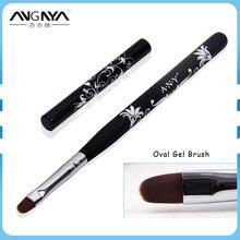 ANGNYA УФ-гель для дизайна ногтей кисть 4 #6 #8 #10 #/Овальный набор нейлоновых волосяных с цветочным принтом дизайн металлическая деревянная ручка...