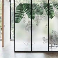 European Nordic leaves Custom size window Glass Film Sticker no glue Privacy Decal bathroom office Sliding door home decoration