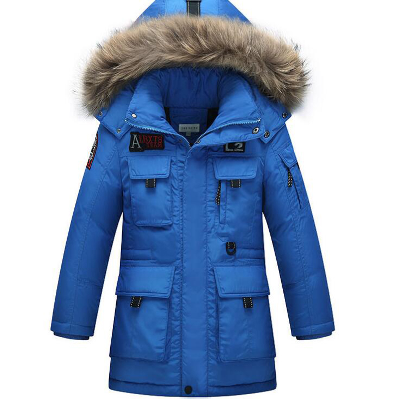 Thick Down Jacket Coat Artificial Leather Hooded High Quality 81-85% White Duck Down Warm Winter Downs 15 russia winter boys girls down jacket boy girl warm thick duck down