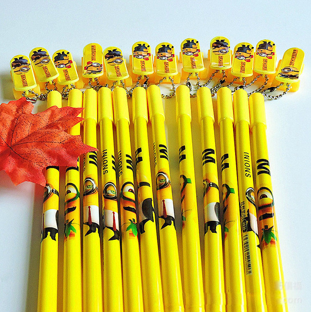 24 pcs/lot Cute Minions Black Ink Gel Pens For Writing