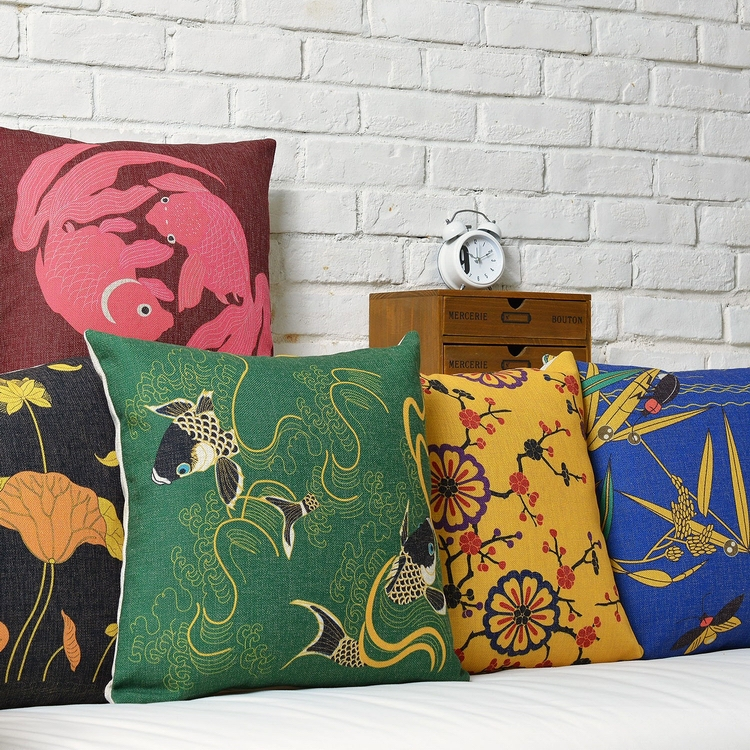 Customize carp Plum Lotus Garden Cushions For Sofas Good luck Sofa
